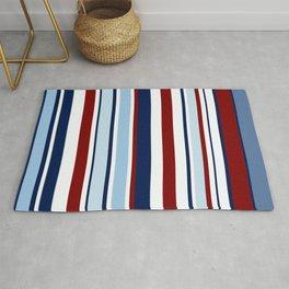 Nautical Stripes - Blue Red White Rug