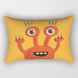 Funny Orange Happy Creature Rectangular Pillow