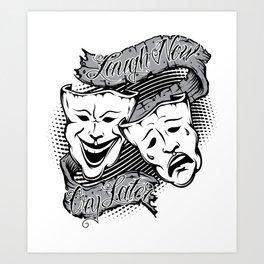 Drama Masks Tattoo Art Print