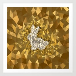 POLYNOID Bunny / Gold Edition Art Print