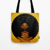 spiritual Tote Bags featuring Spiritual AfroGirl by Pweety Sexxay
