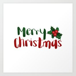 Merry Christmas | Red And Green Holly Art Print