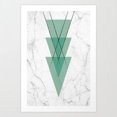 Marble Scandinavian Design Geometric Triangle Art Print
