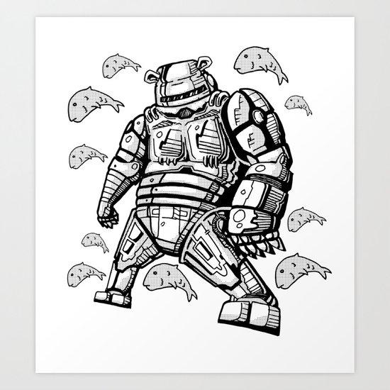 Robocop Robot Bear by RonkyTonk Art Print
