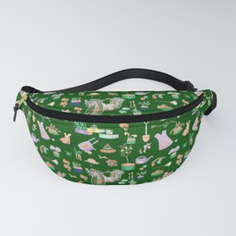 Vintage Garden on Forest Green Fanny Pack
