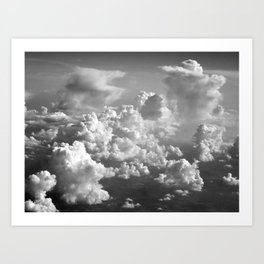 Light Dancing through Soft Clouds - Black and White Art Print