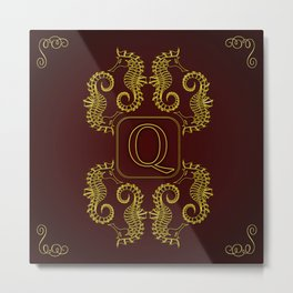 Letter Q seahorse monogram Metal Print