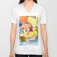 snorlax V-neck T-shirts featuring Girl Reading the Bible by Bemmygail