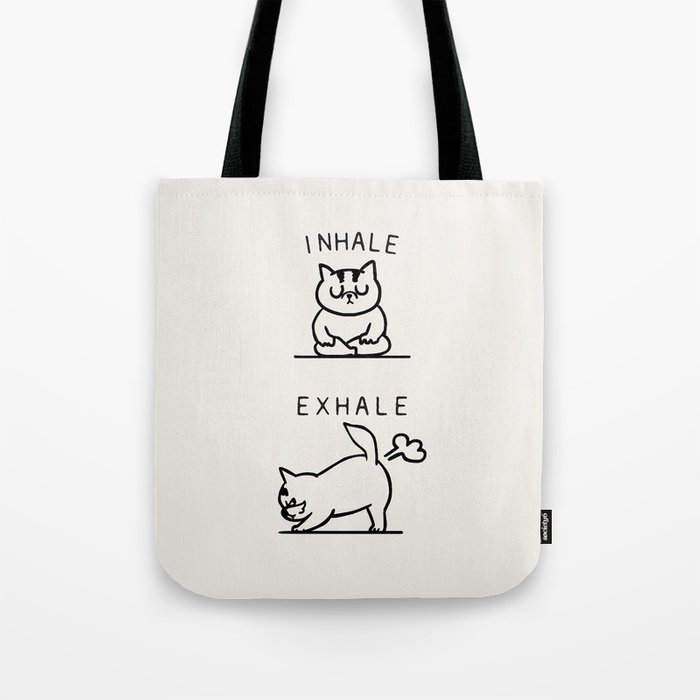 Inhale Exhale Cat Tote Bag