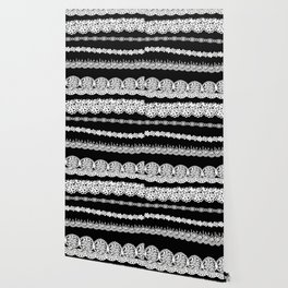 Black and white lace print Wallpaper