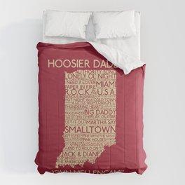 Hoosier Daddy, John Mellencamp, Indiana map art Comforters
