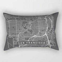 San Francisco Map, California USA - Charcoal Portrait Rectangular Pillow