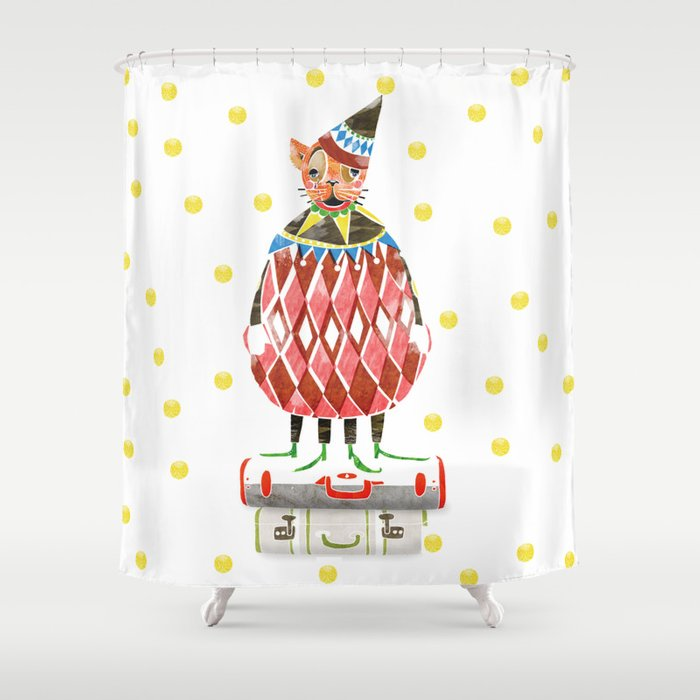 Cat In A Hat On Suitcase Stack Shower Curtain