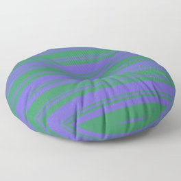Sea Green & Slate Blue Colored Lined Pattern Floor Pillow