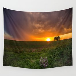 Autumn Sunset - Flowers and Tree on Oklahoma Plains Wall Tapestry