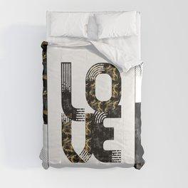 Graphic Art Gold LOVE   black Comforters