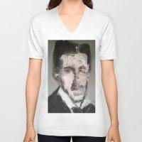 tesla V-neck T-shirts featuring Tesla by Larry Caveney