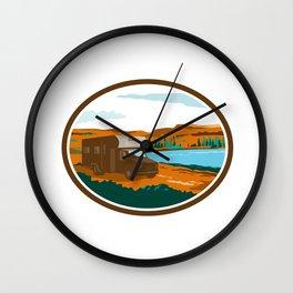 RV Camper Van Desert Scene Oval Retro Wall Clock