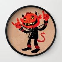 heavy metal Wall Clocks featuring Heavy Metal Devil by John Schwegel