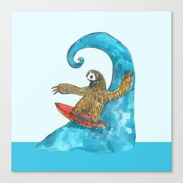 surfing sloth in the spring Canvas Print