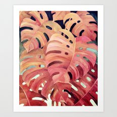 Monstera Love in Magenta and Coral - oil painting Art Print