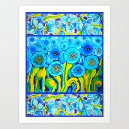 Field of Blue Poppies with Top and Bottom Border Belize Art Print