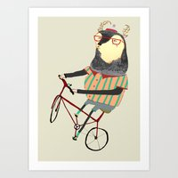 bike Art Prints featuring Deer on Bike.  by Ashley Percival illustration