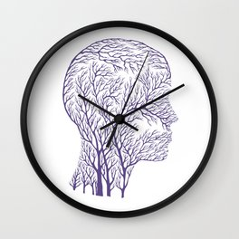 Head Profile Branches - Ultra Violet Wall Clock