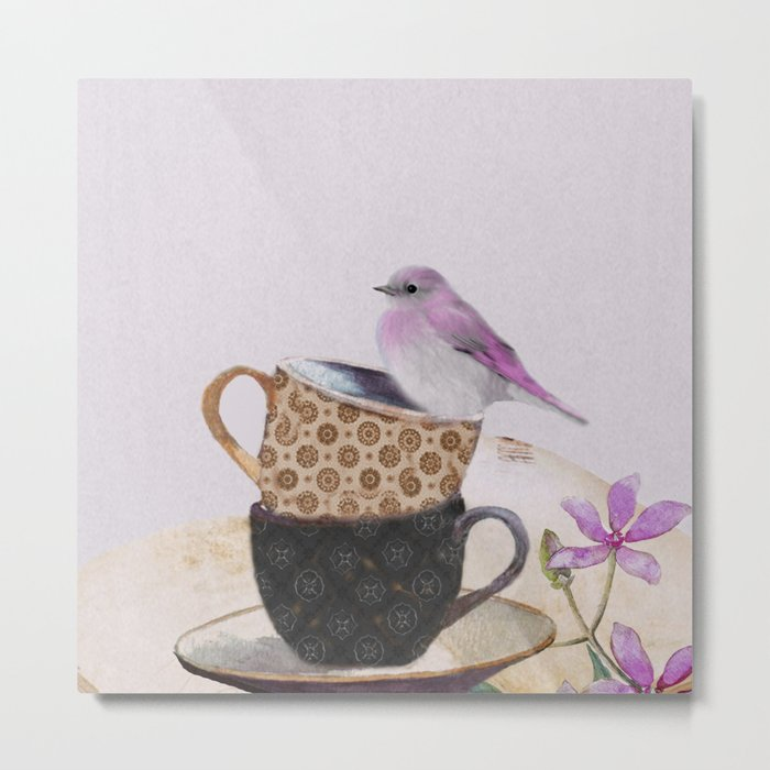 Bird in tea cup Metal Print