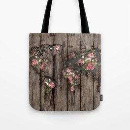 Wood Flowers Mapamundi Tote Bag