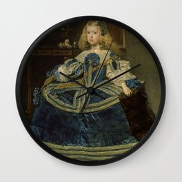 Diego Rodriguez de Silva y Velázquez - Infanta Margarita Teresa in a Blue Dress Wall Clock