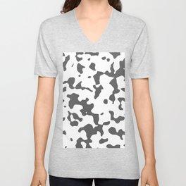 Large Spots - White and Dark Gray Unisex V-Neck