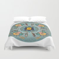 finn and jake Duvet Covers featuring Meditating Jake by Lady Catton