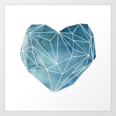 Heart Graphic Watercolor Blue Art Print