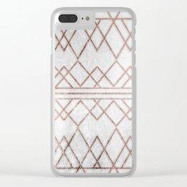 Chic & Elegant Faux Rose Gold Geometric Triangles Clear iPhone Case