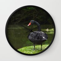 black swan Wall Clocks featuring Black Swan by Lili Batista