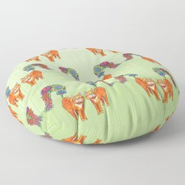 A Cat Sprouting Flowers Floor Pillow