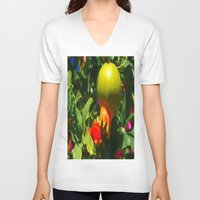 pomegranate V-neck T-shirts featuring Pomegranate by Ricarda Balistreri