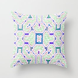 The Song to Support Spiritual Growth - Traditional Shipibo Art - Indigenous Ayahuasca Patterns Throw Pillow