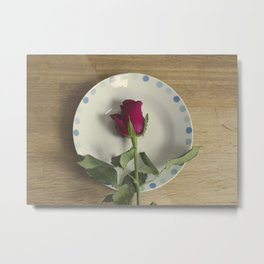 Red rose on a plate Metal Print