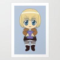 shingeki no kyojin Art Prints featuring Shingeki no Kyojin - Chibi Armin Flats by Tenki Incorporated