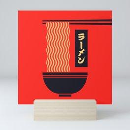 Ramen Japanese Food Noodle Bowl Chopsticks - Red Mini Art Print