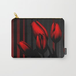 Red Black & Gray Stripes Dark Tulip Flowers Carry-All Pouch