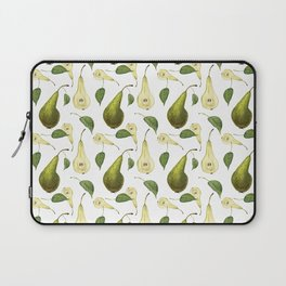 Watercolor seamless pattern with pears Conference and leaves. Botanical isolated illustration.  Laptop Sleeve