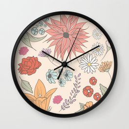 flower collage Wall Clock