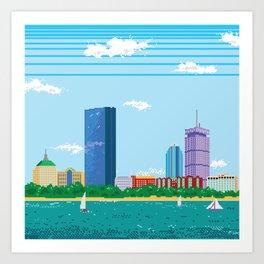 Pixel Boston Skyline Art Print