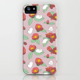 Japanese Camellia and Albino Guinea Pig Pattern iPhone Case