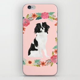 japanese chin floral wreath dog breed pet portrait pure breed dog lovers iPhone Skin