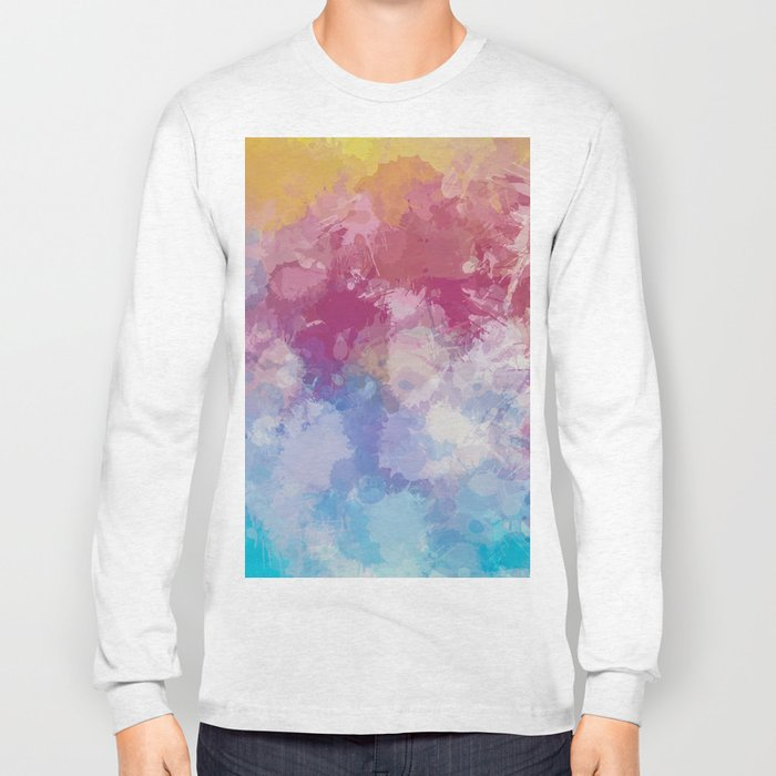 Bright Pastel Paint Splash Abstract Long Sleeve T-shirt