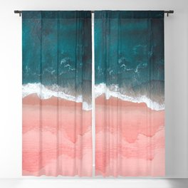 Turquoise Sea Pastel Beach III Blackout Curtain